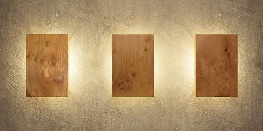 Holz Massiv Haus Wandleuchte Holz 20x30 | Wohnzimmer | Living Room | Lampe