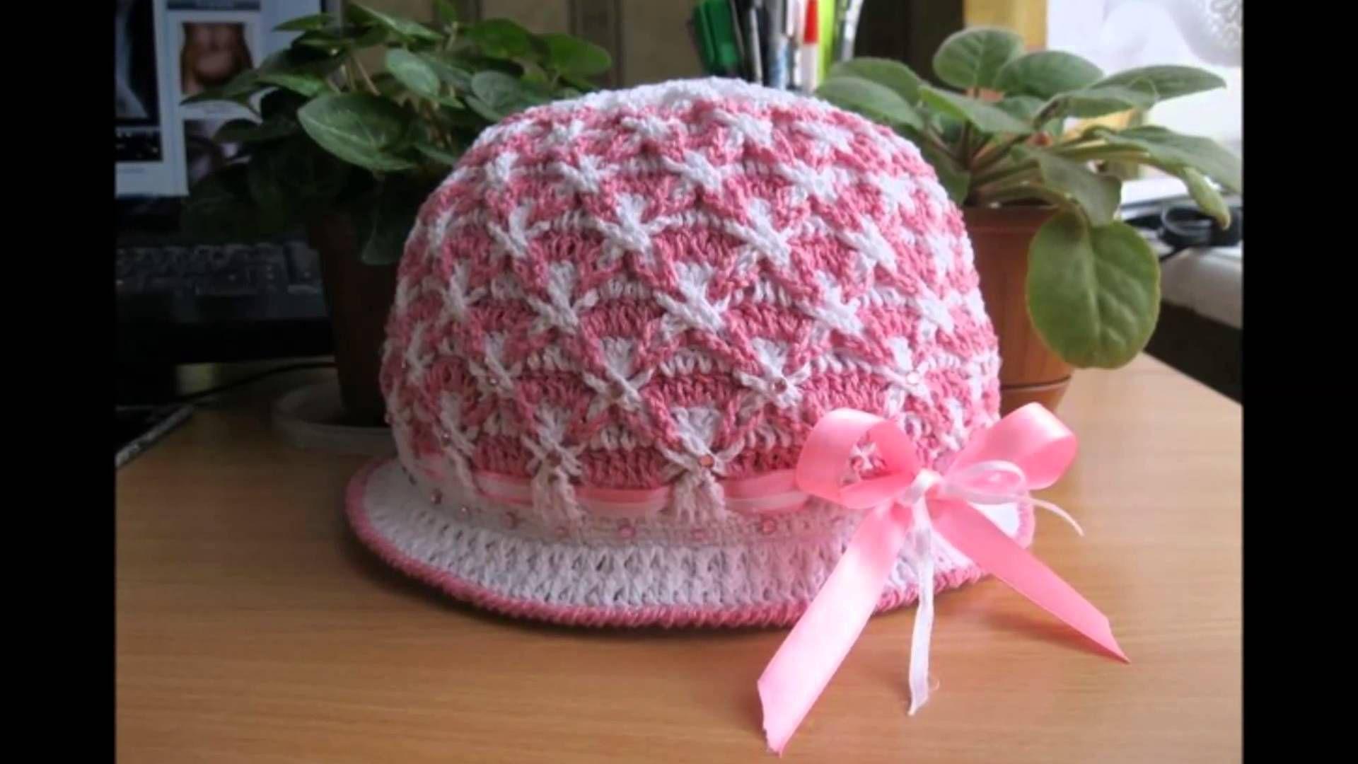 Gorros con flores tejidos a crochet para niñas  90c8cf2d5e8