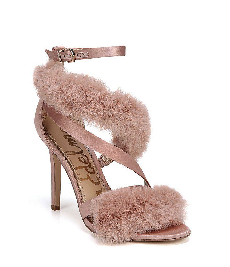 8d25e17c697f Sam Edelman Adelle Satin Faux Fur Strappy Dress Sandals