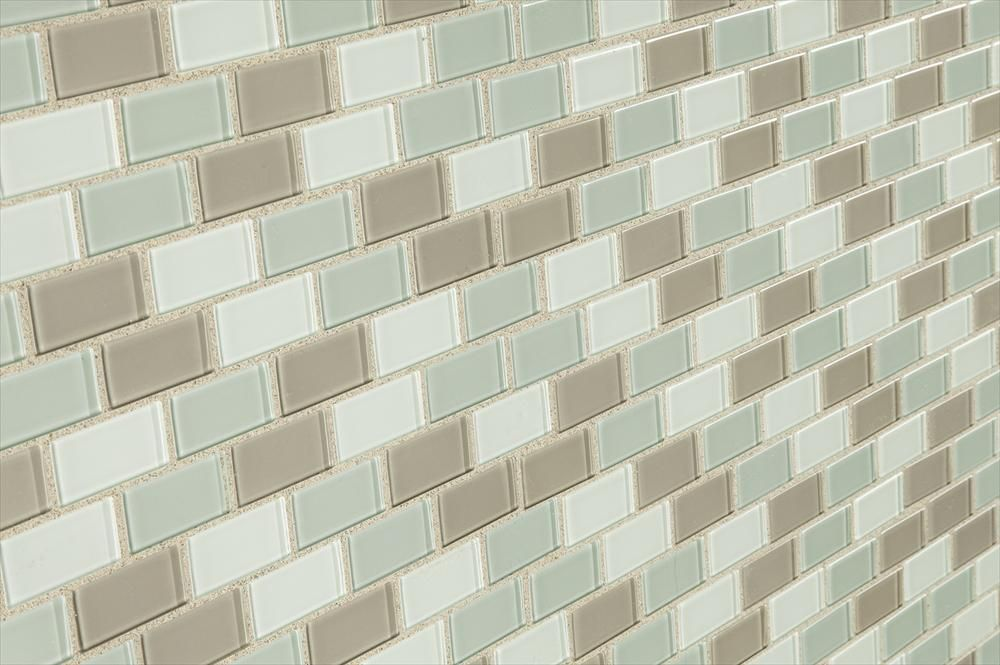 BuildDirect – Glass Tile - Crystalized Glass Blend 4mm Series – Majestic Ocean Brick Blend - Angle View