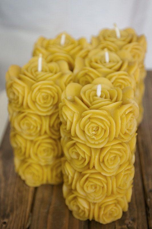 Vela de cera de abelha BIG ROSE Vela eco friendly RomanticCandle POR