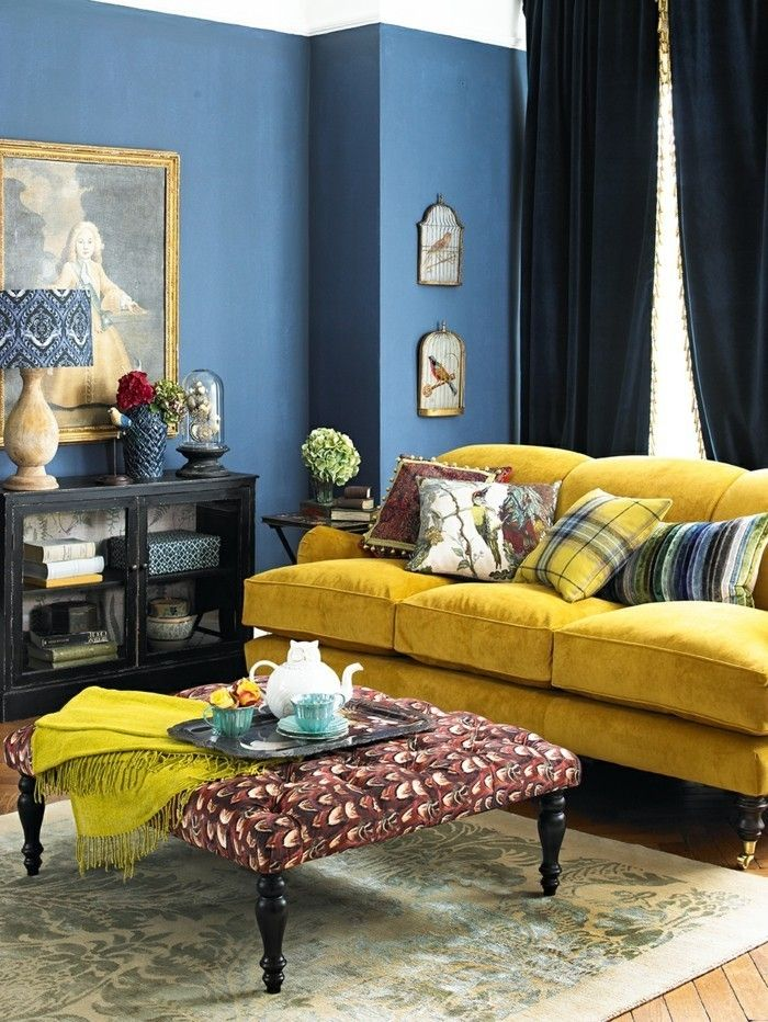 Interior Design Ideas Living Room Blue Wall Color Yellow Sofa