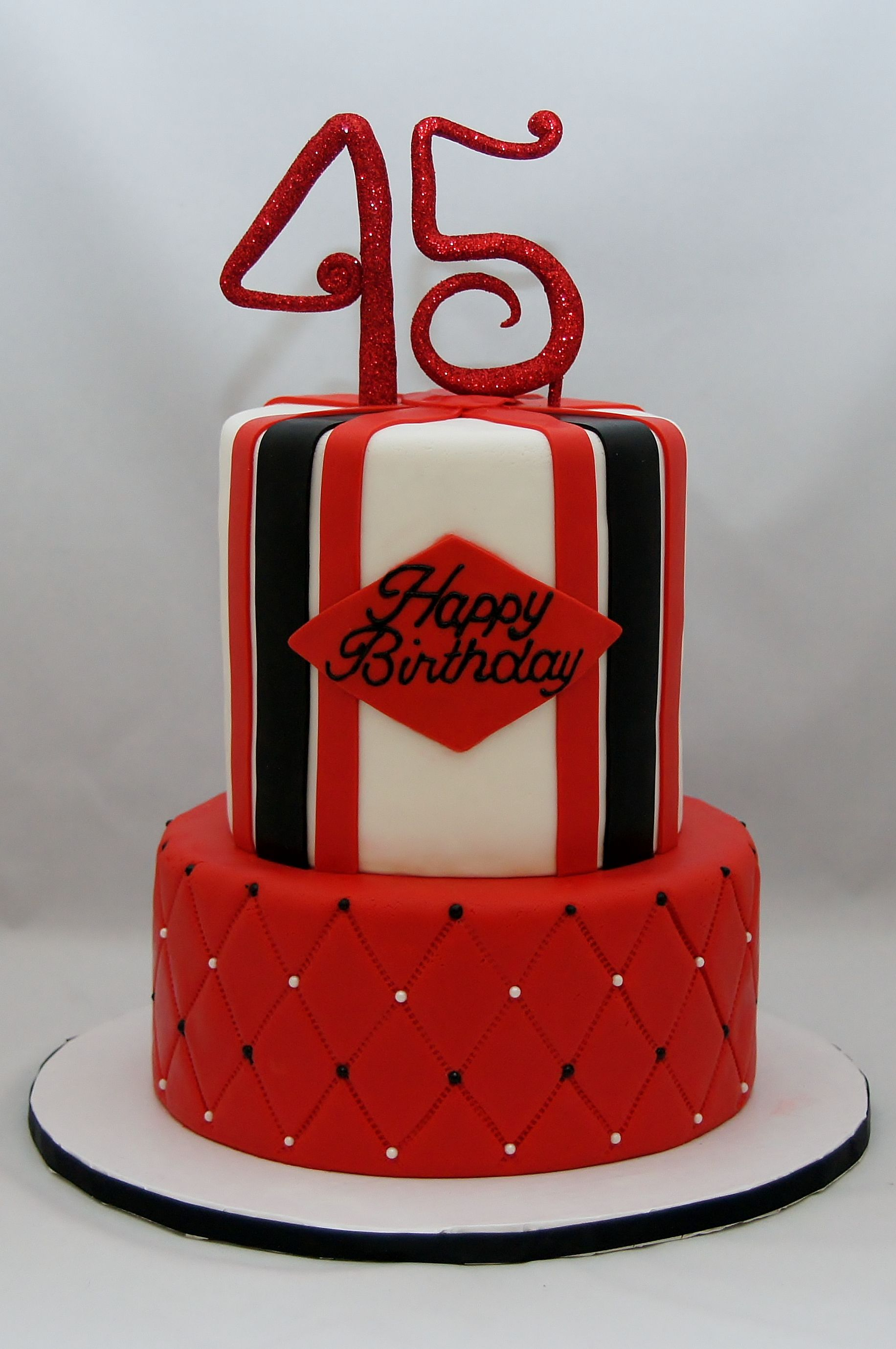 Red White And Black 45th Birthday Cake Celebration Cakes