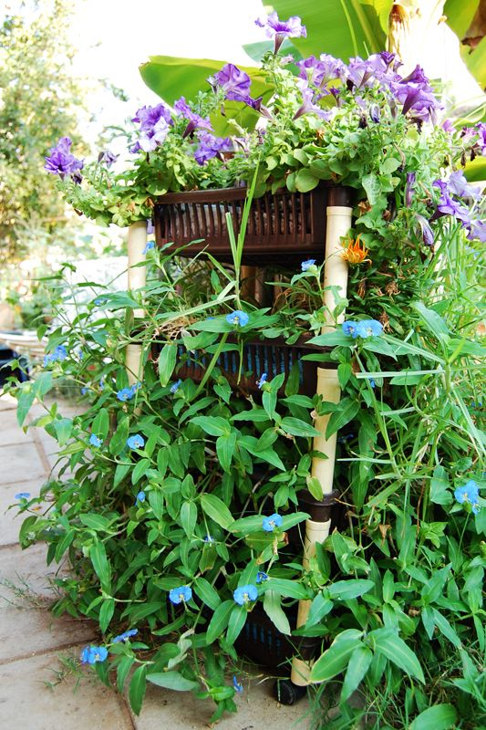 vertical flowerbed made of kitchen stand