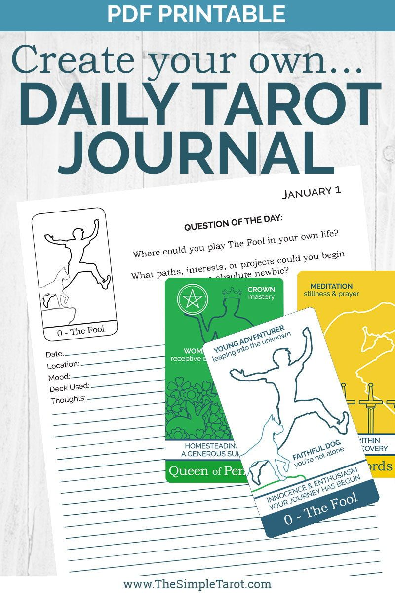 Pdf printable tarot card meanings workbook create your own