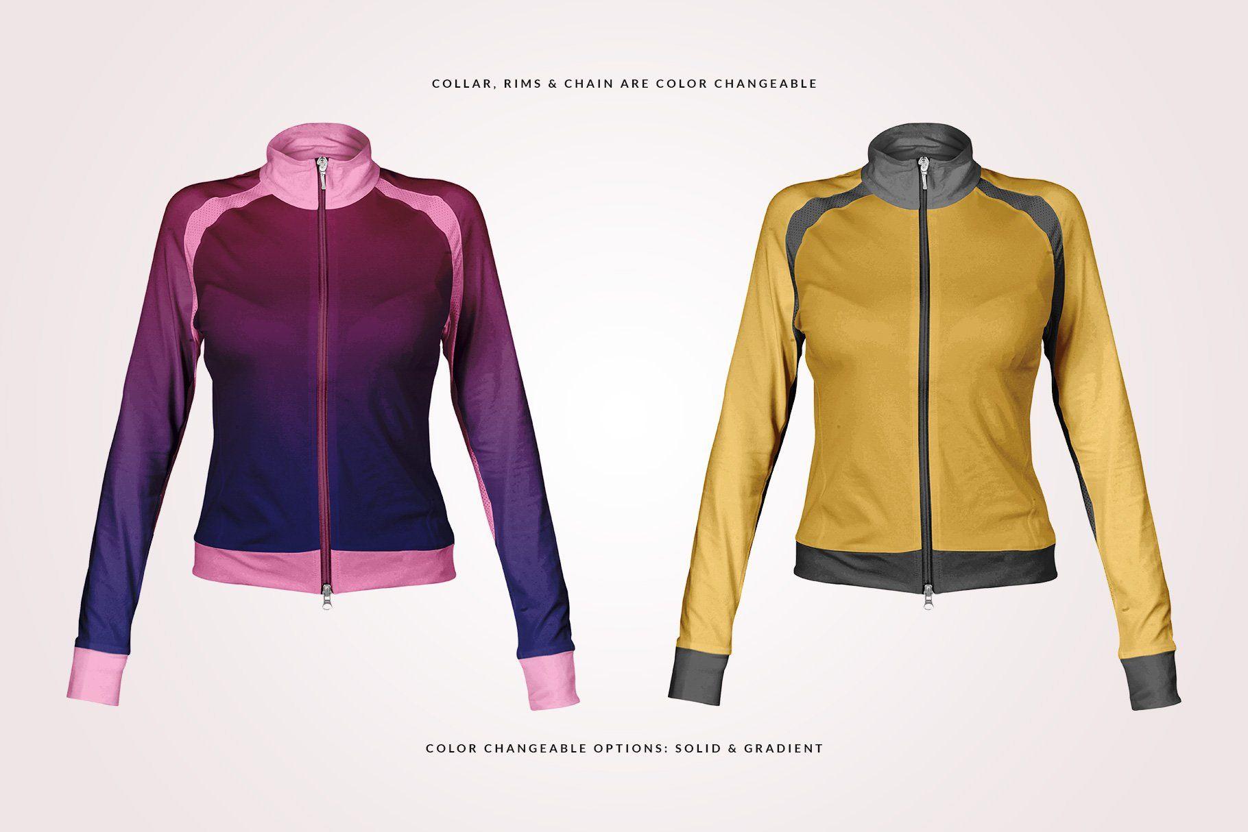 Download Female Fitness Jacket Mockup Fit Women Gym Wear Brands Workout Jacket