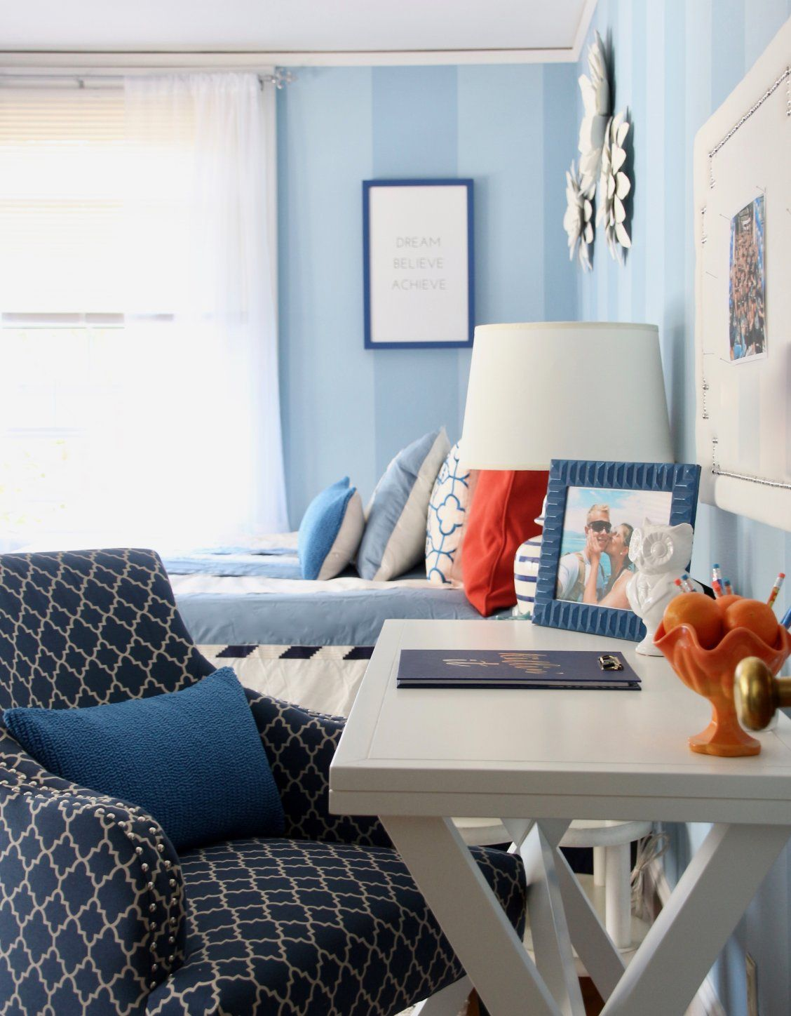 Time S Running Out To Style For Back To School Get Inspired By This College Room Makeov Blue And Orange Living Room Living Room Orange Living Room Design Blue