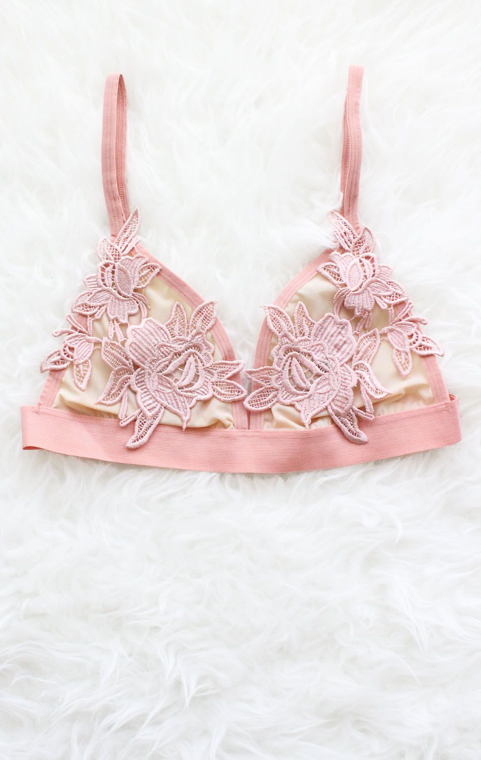 5b59489626 Description - Size Guide Details  Cute triangle bralette in rose with floral  applique . No padding