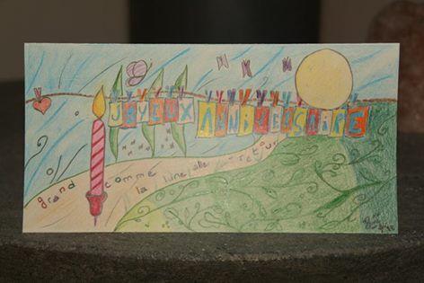 Joyeux Anniversaire - Grand comme la lune aller retour - Happy birthday- Carte- Card- By Mona Lisa  https://www.facebook.com/pages/Mona-Lisa-B%C3%A9n%C3%A9dicte-Cantele/186737541497446