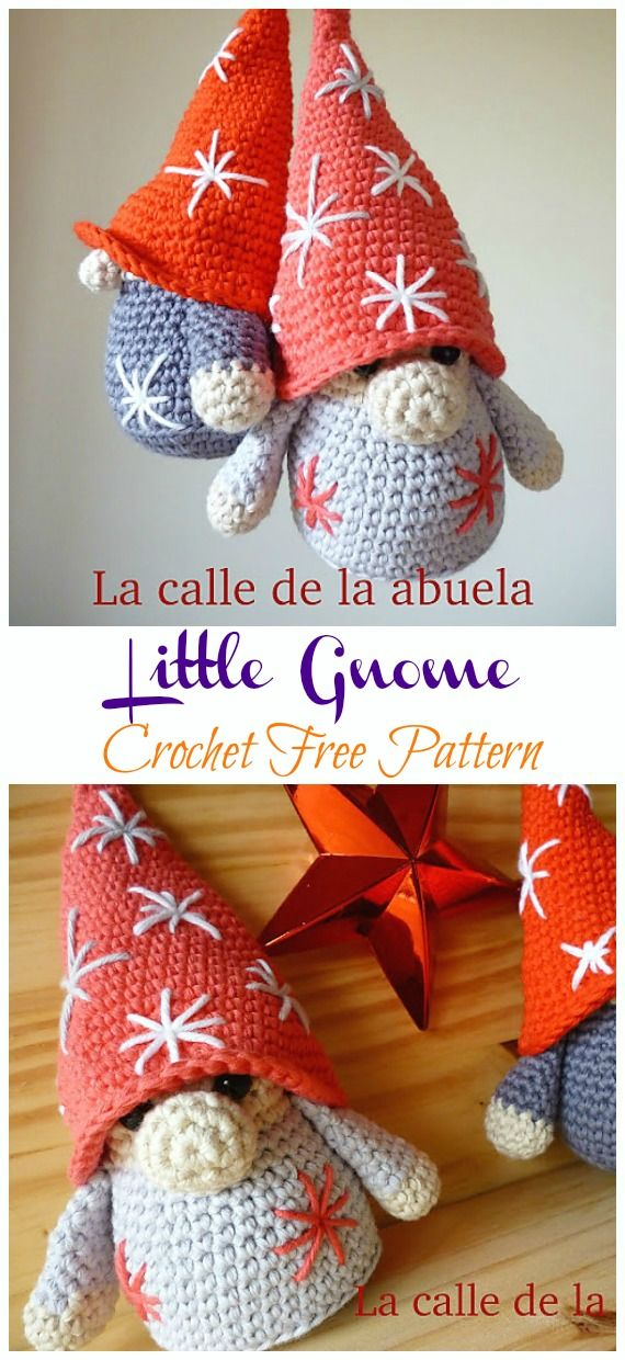 20 Free Amigurumi Gnome Toy Softies Crochet Patterns #crochetmotif