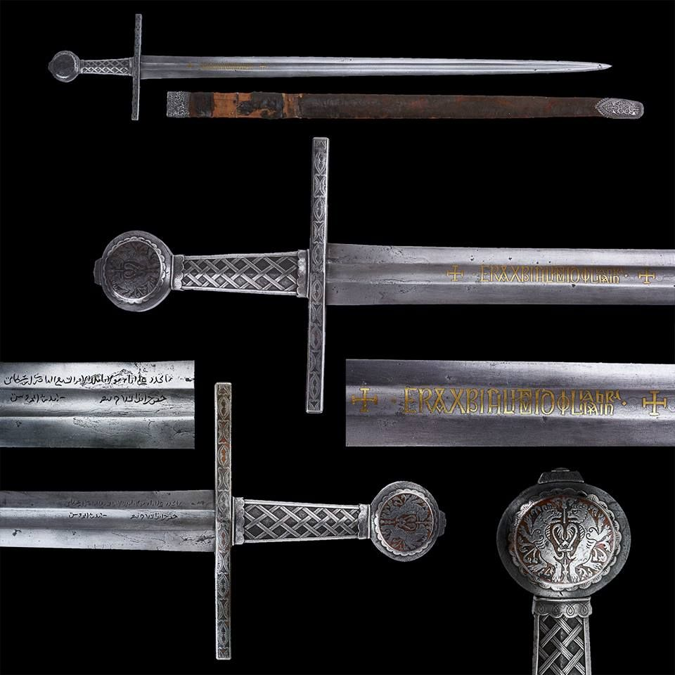 "An Eastern European Medieval Sword with Scabbard, first half of the 14th century The hilt all encrusted with silver (niello). The blade inlaid with gilt inscriptions. The upper back side of the blade engraved with a Mameluk inscription (arsenal of Alexandria). Leather bound scabbard with silver mounts. Overall length: 105.3 cm (41.5""); Blade length: 88.4 cm (34.8""); Scabbard length: 89.5 cm (35.2"") Located at Reichsstadtmuseum Rothenburg, Germany"