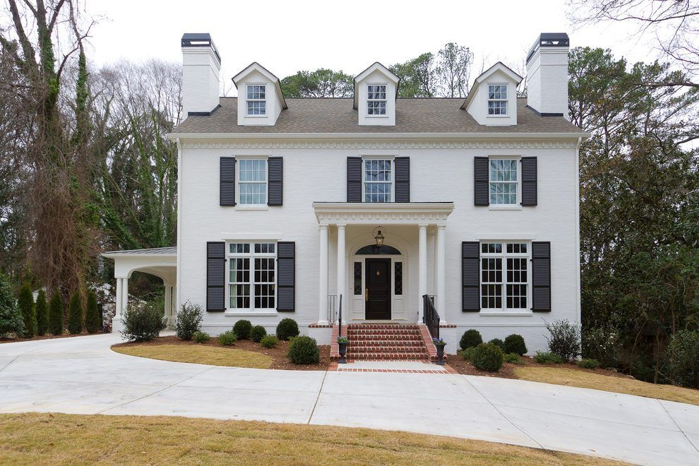 Image Result For Hardiplank Siding Home Painted Brick Exteriors White Brick Houses Painted White Brick House
