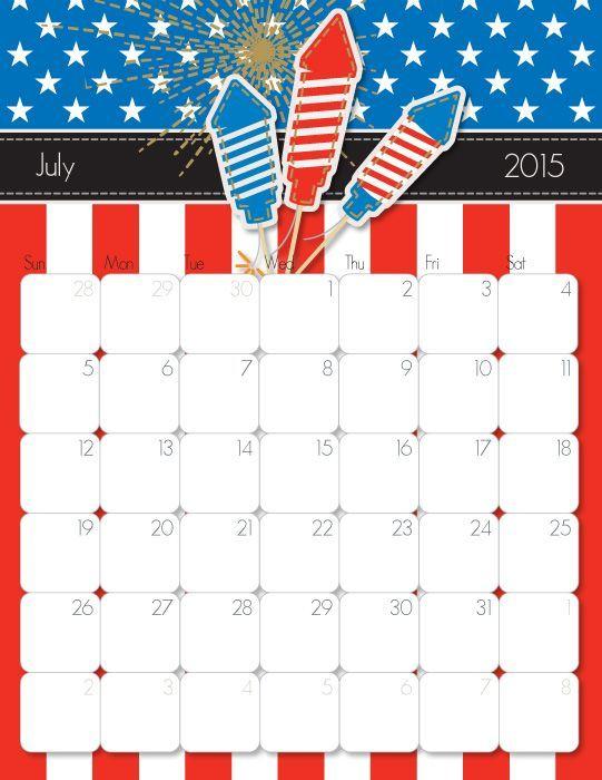 Cute July 2015 Calendar Calendar 2015 July calendar, 2015