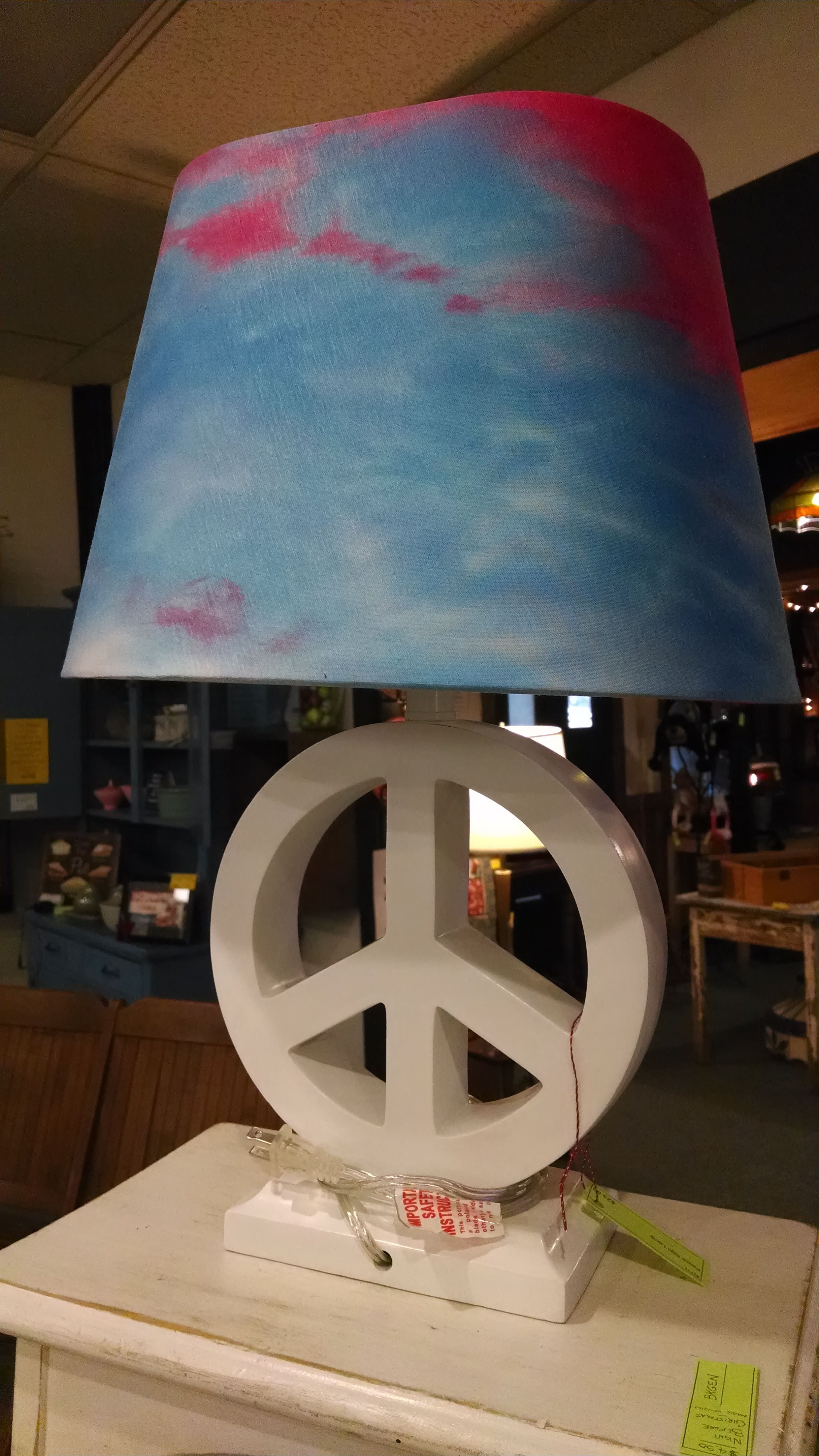 Cool peace sign lamp with multicolored shade we have a pink one too cool peace sign lamp with multicolored shade we have a pink one too 2350 aloadofball Gallery