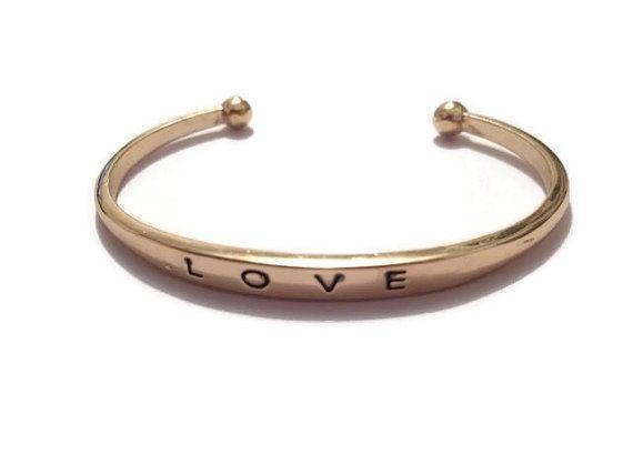 The power of LOVE bracelet / Gold Plated Bracelet / Friendship gift / Open cuff bracelet / Wedding bracelet / Boho / Gold / Gift idea / chic