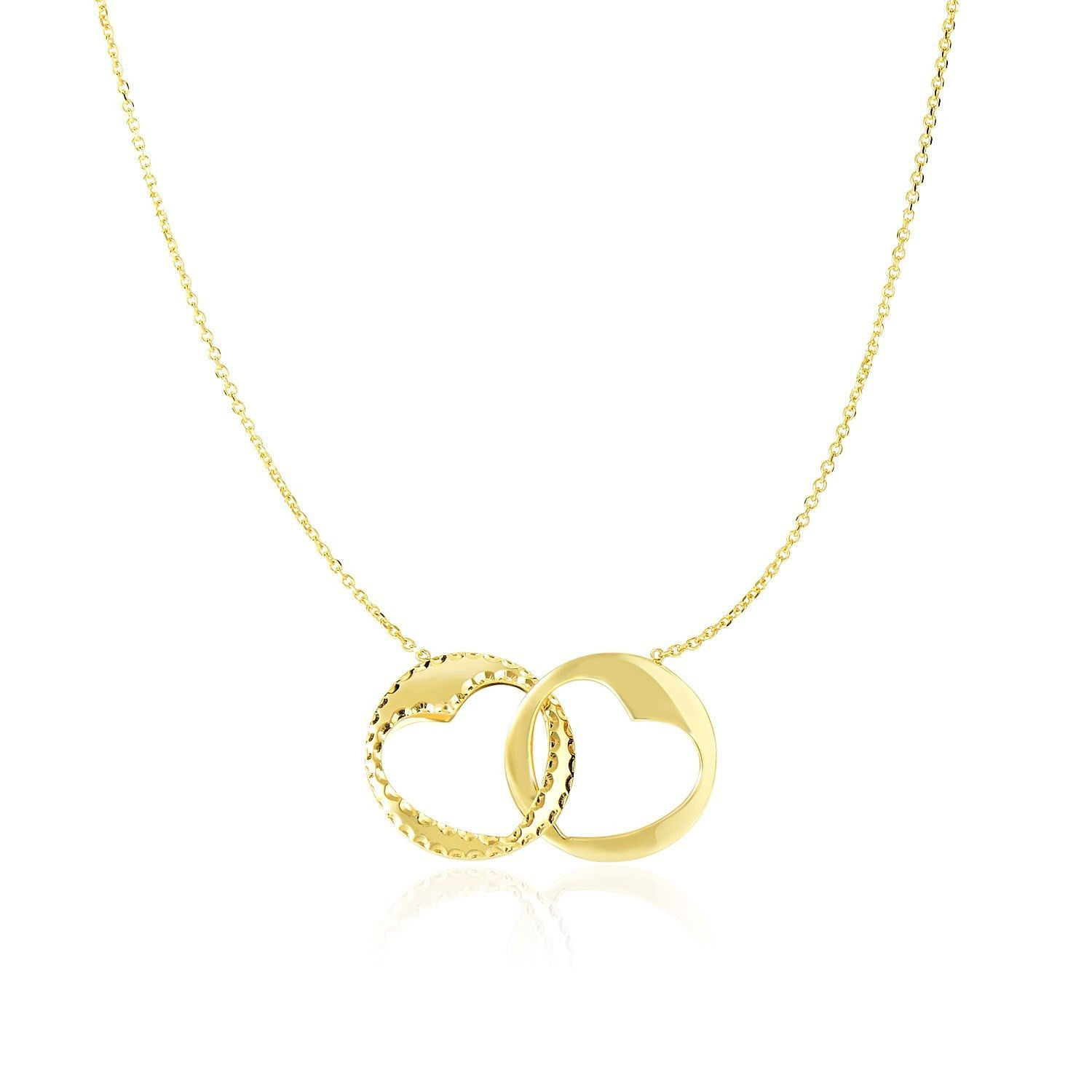 14K Yellow Gold Necklace with Interlaced Heart Design Round Charms