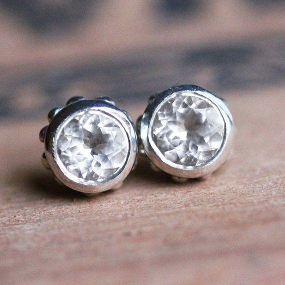 White Topaz Stud Earrings Tiny Stud Earrings Diamond Like Studs Bezel Earrings April Birthstone Stud Earrings Gift Wrought Ready To Ship Tiny Stud Earrings Topaz Stud Earrings White Topaz Earrings