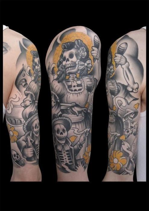 4f2e73c4b dia de los muertos half sleeve   Tattoos   Tattoos, Rockabilly ...