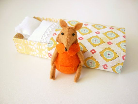 Tangerine Fox plush in match box by atelierpompadour on Etsy.  Here goes the credit card again.  :/