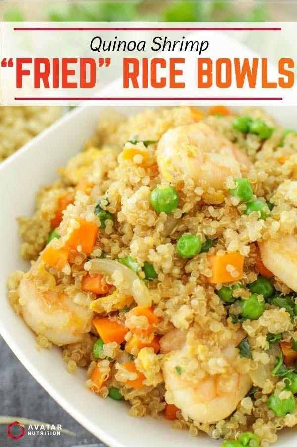 Gebratene Reisschalen mit Quinoa-Garnelen  – Macro Friendly Recipes