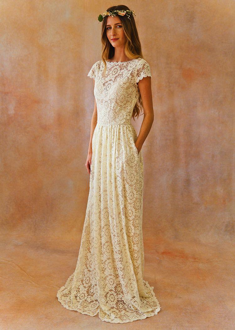 Catherine Wedding Dress With Pockets Simple Lace Wedding Dress