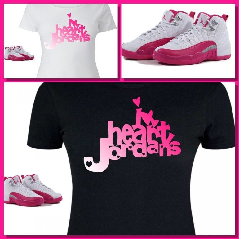 0bc23d73bbde9 LADIES   WOMENS TEE SHIRT to match GIRLS JORDAN XII 12 VALENTINES! PINK  HEART  COPEMCUSTOMS  GraphicTee