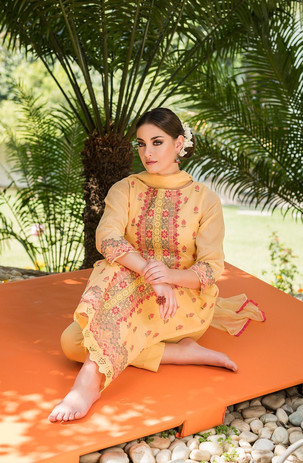 3068aeb242e Embroidered Organdy Cotton Yellow Salwar Kameez - OAS1674B Product Details   COLOR  Yellow FABRIC