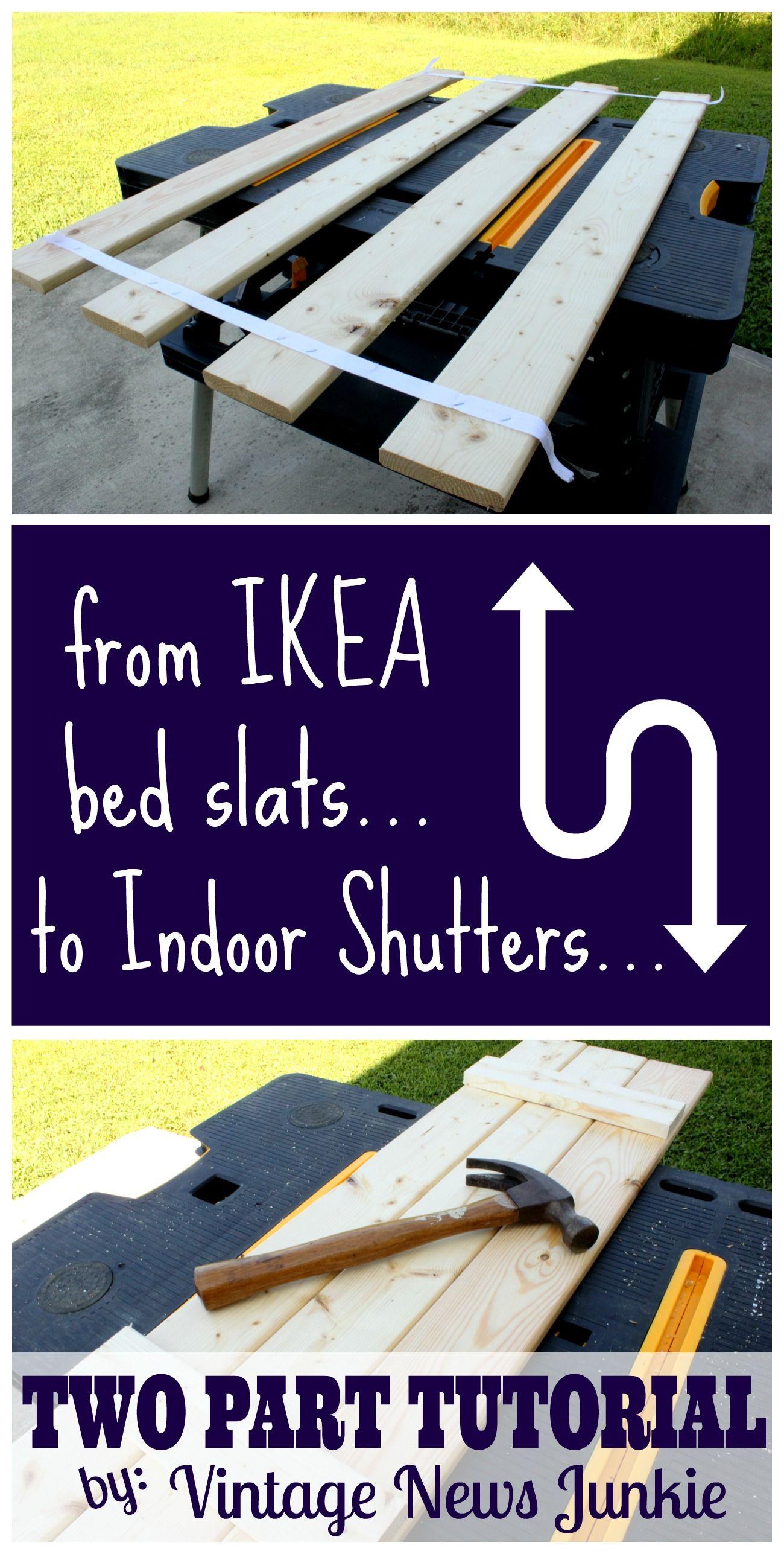 Rockin' Indoor Shutters made from IKEA Bed Slats Tutorial