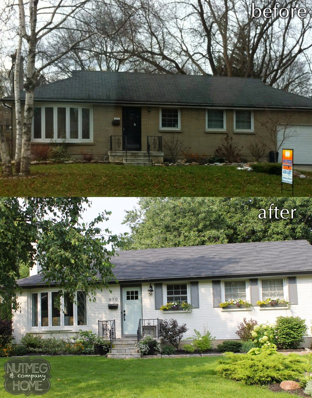 Nutmeg company home before after curb appeal part 2 - How to paint brick house exterior ...