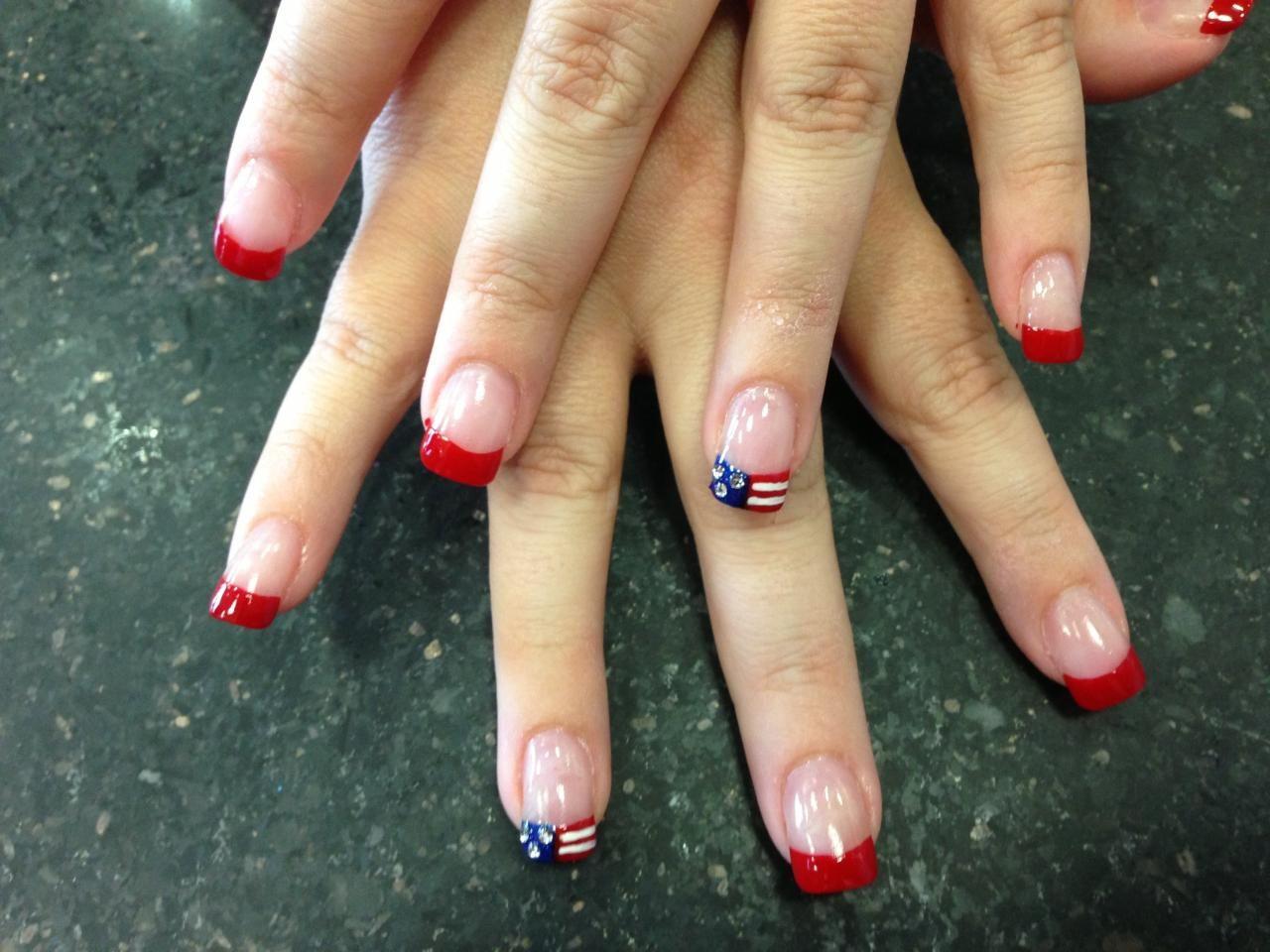 Acrylic Nails Colored Nail Tips Nail Art Fourth Of July All