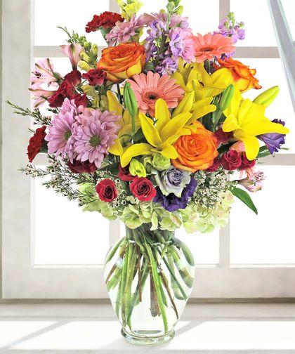 The Denver Dazzler With Images Summer Flower Arrangements Flower Arrangements Sympathy Flowers