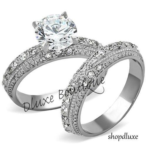 3 25 Ct Round Cut Cz Stainless Steel Vintage Wedding Ring Set