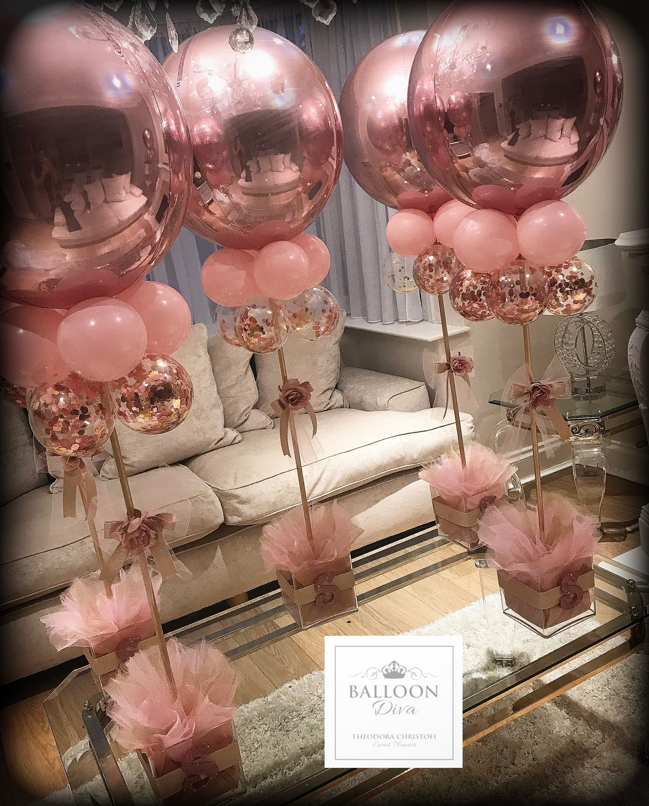 Rose Gold Orb Centrepiece Wedding Balloons Shower Party Baby Shower Decorations