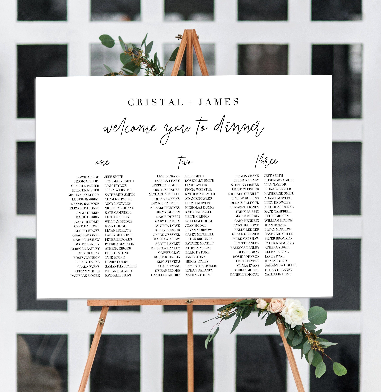 Editable Wedding Seating Chart, Printable Seating Chart