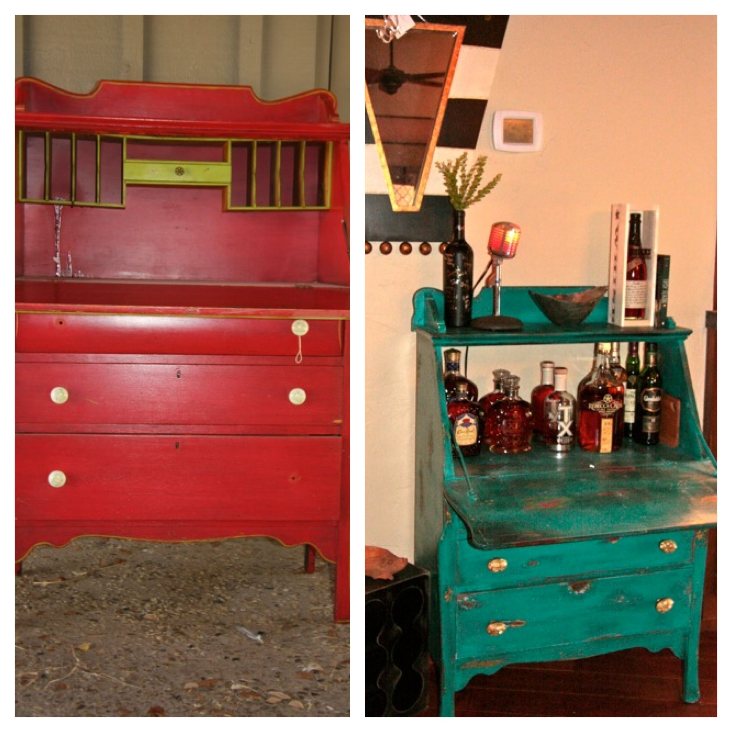 Before And After Secretary Turned Bar Cabinet Home