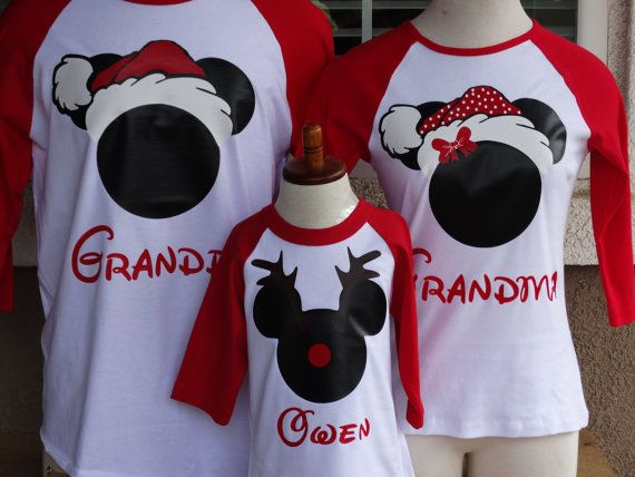 Free Shipping for US Christmas Mickey and Minnie Santa and Rein Deer Family  of 3 3 4 long sleeve baseball T. 04fbc7c720106