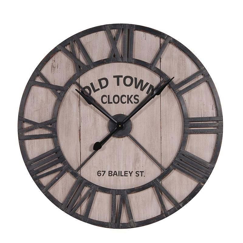 Lovely Unique Metal Numeral Wall Clock With Its Pale Wood Background. U0027Old Townu0027 67 Awesome Design
