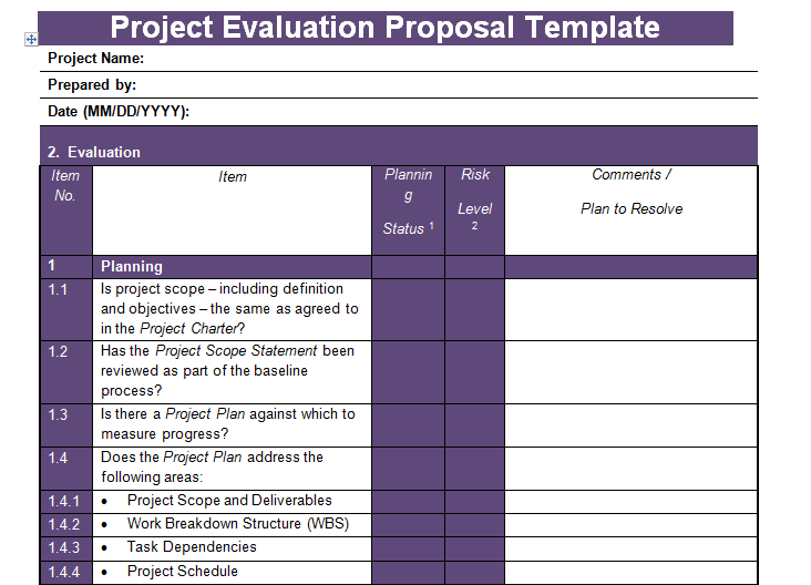 get project evaluation proposal template project management templates and certification