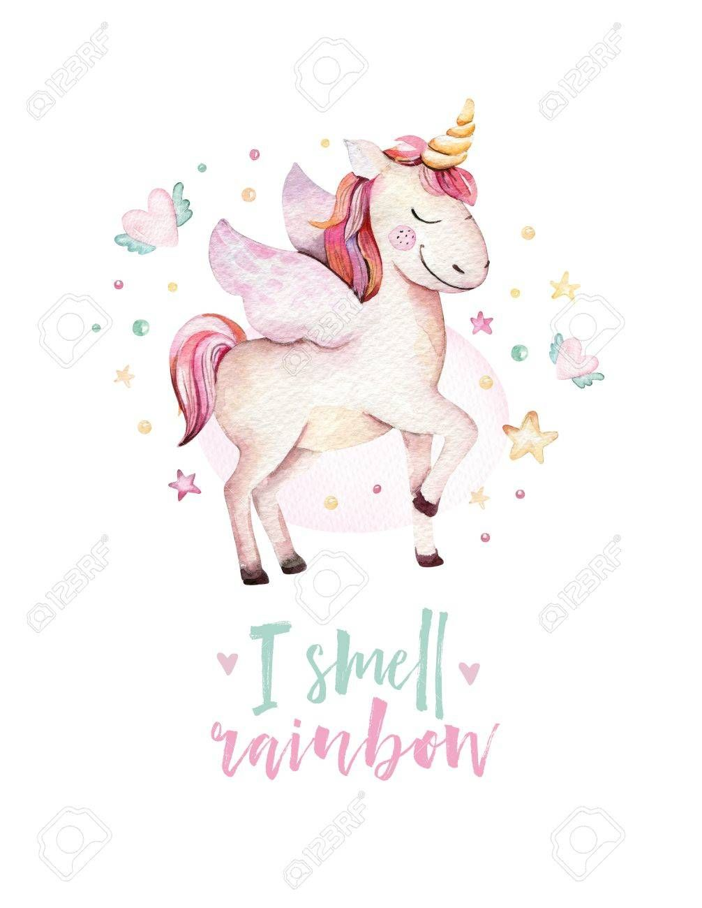 Isolated cute watercolor unicorn kids poster. Nursery unicorns illustration. Princess unicorns drawing. Trendy pink cartoon magic horse. , #spon, #poster, #kids, #unicorns, #Nursery, #cute