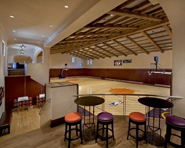 Indoor basketball court nance 39 s game media rooms for Basketball court inside house