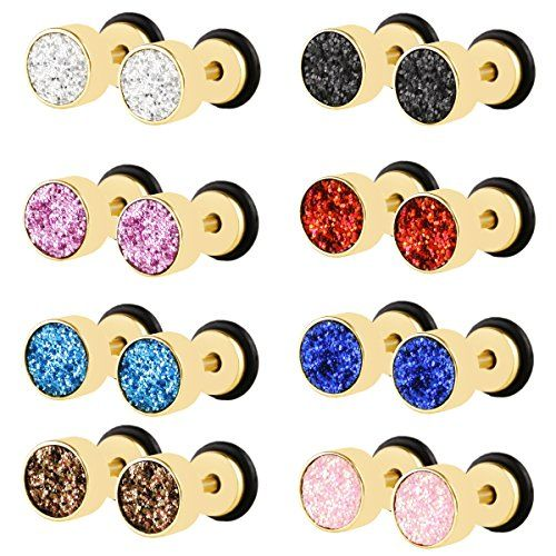JewelrieShop Stainless Steel Body Jewelry Barbell Faux Expander Matte Screw Stud Earrings -- Want to know more, click on the image. Note:It is Affiliate Link to Amazon.