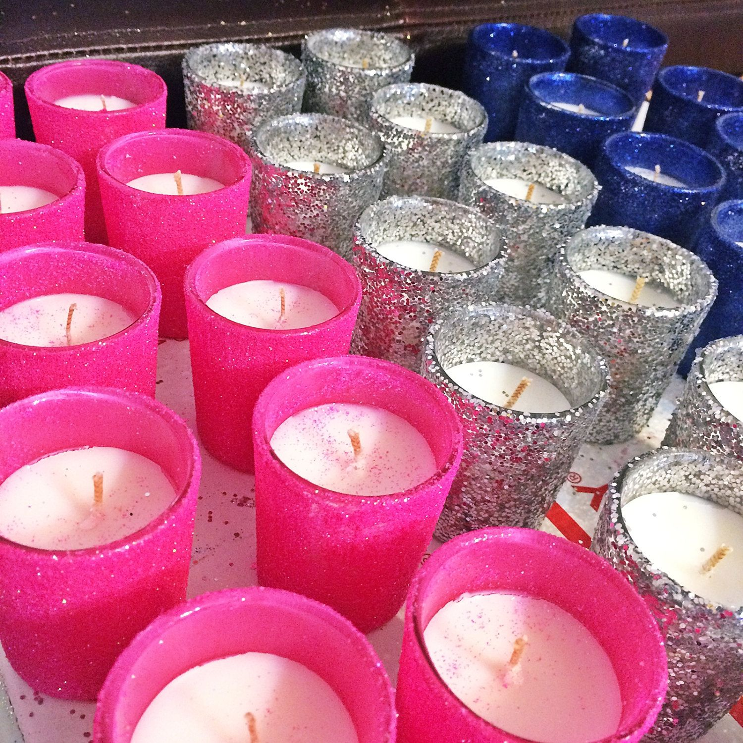36 Hot Pink Silver and Navy Candles, Wedding Centerpiece, Votive ...