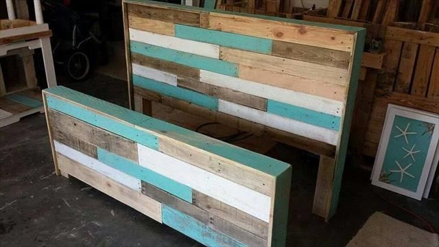diy hand-built pallet bed with headboard | pallets, wood beds and
