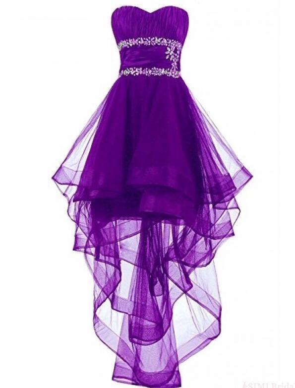 44++ Purple hi low dress information