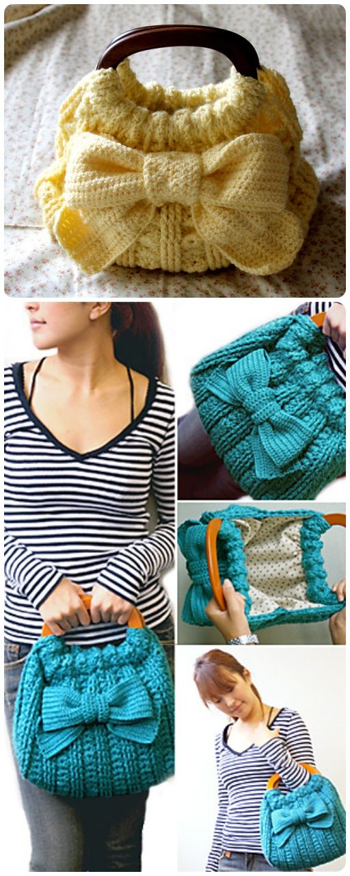 #Crochet Ribbon Accent #Bag with Free #Pattern