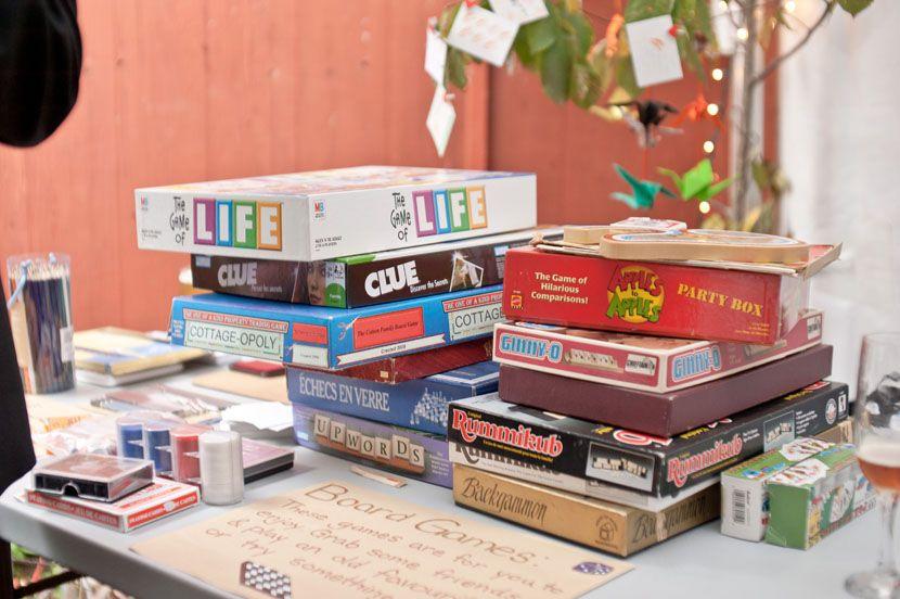Board Games At A Wedding Reception And Paper Cranes