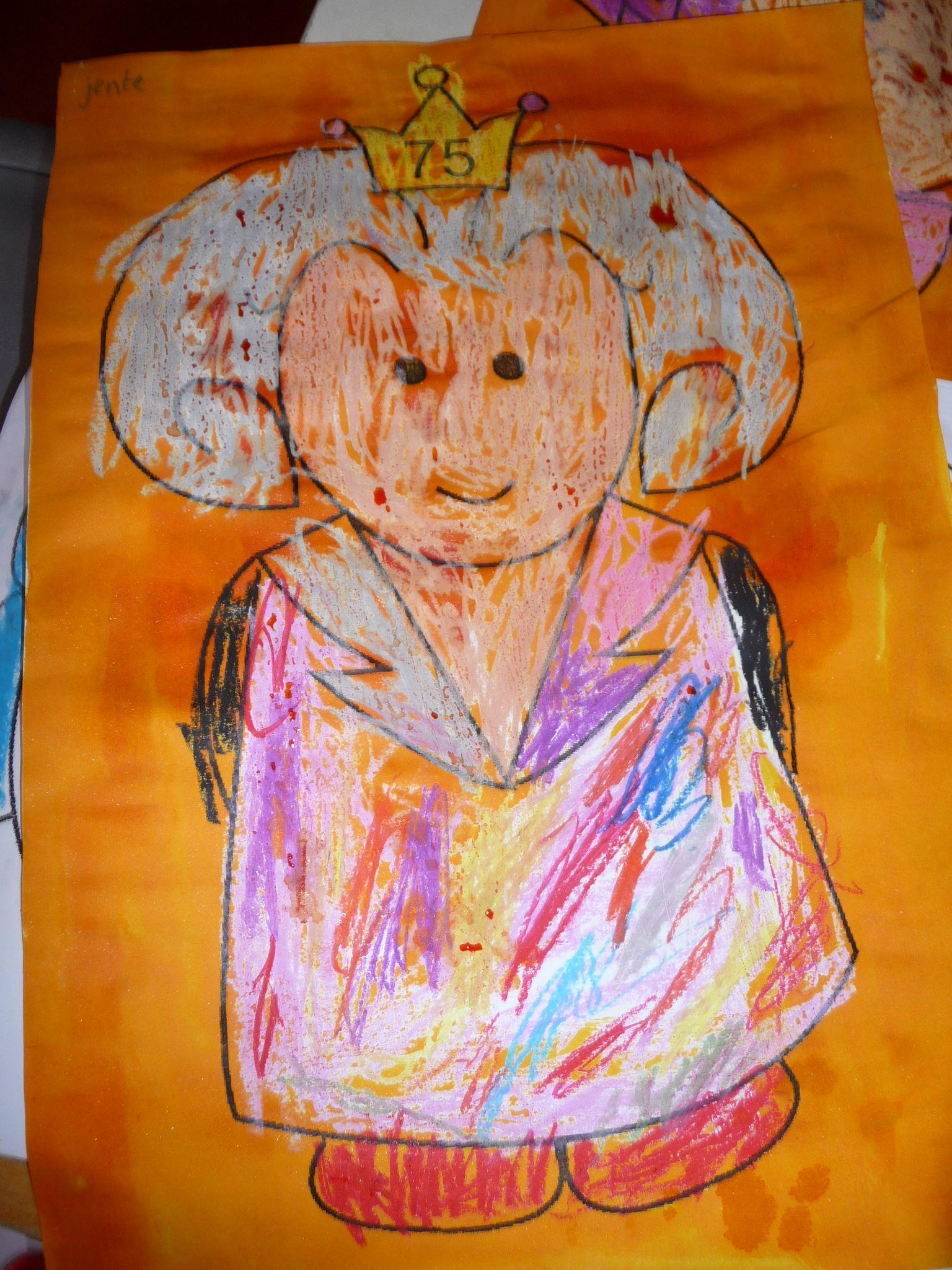 Map juf Ineke: de kinderen kleuren Beatrix met wasco in en gaan er later overheen met oranje ecoline.