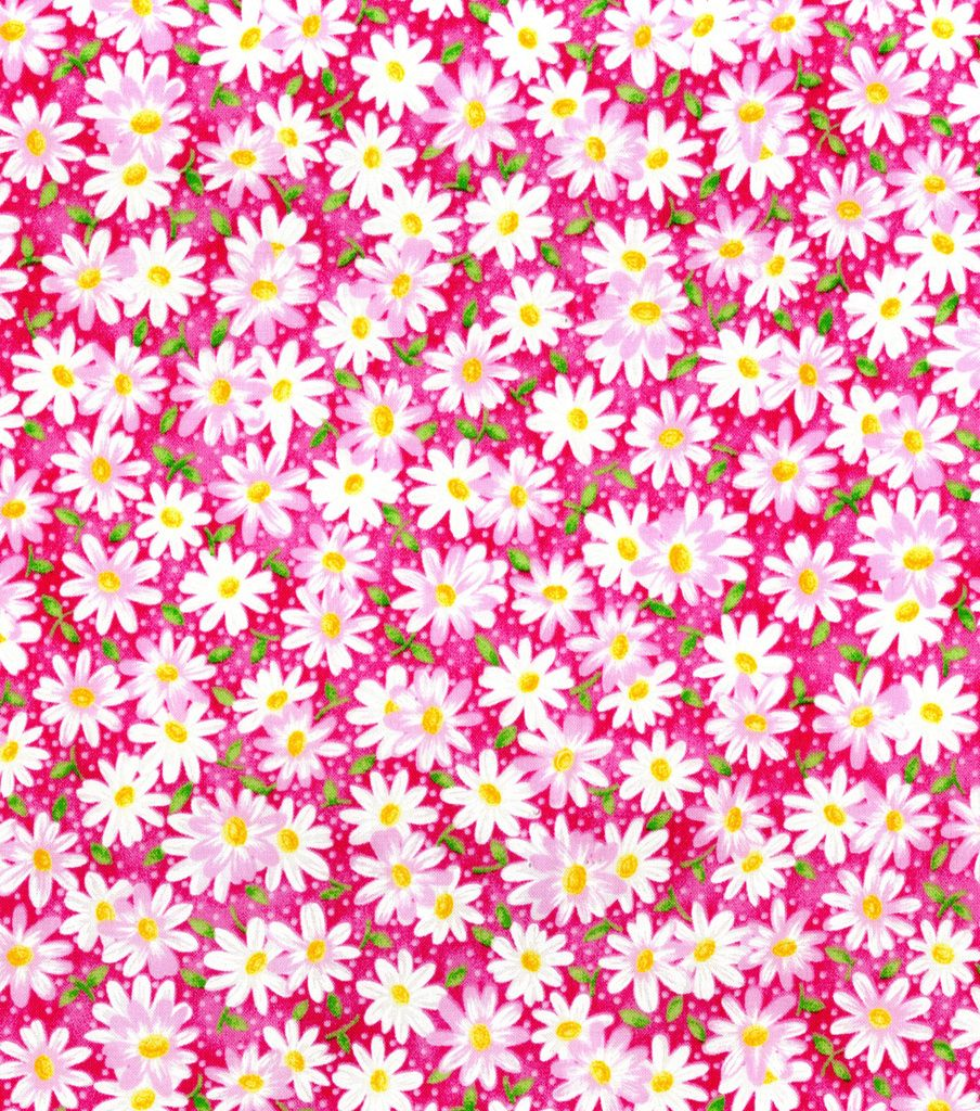 Keepsake Calico™ Cotton Fabric 44\'\' - Pink Packed Daisy