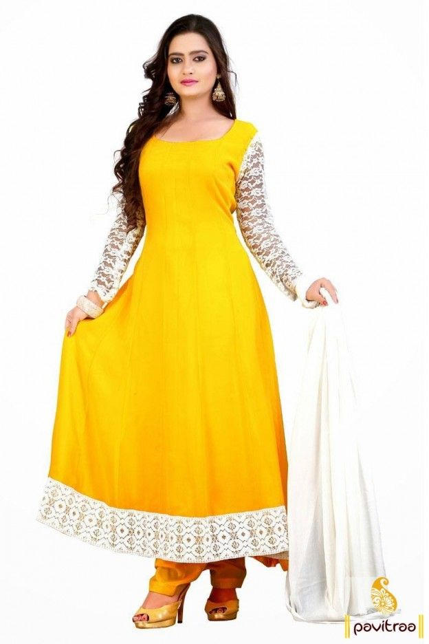 Beautiful white yellow georgette anarkali salwar suit will add shine to your looks with nice net sleeves and beautiful lace border at the bottom of the attire.  #pavitraa, #salwarsuits, #anarkalisalwarsuits, #designerdresses, #partyweardresses, #salwarkameez, #lehengasuits, #bollywooddresses, #onlinesuit, #promdress