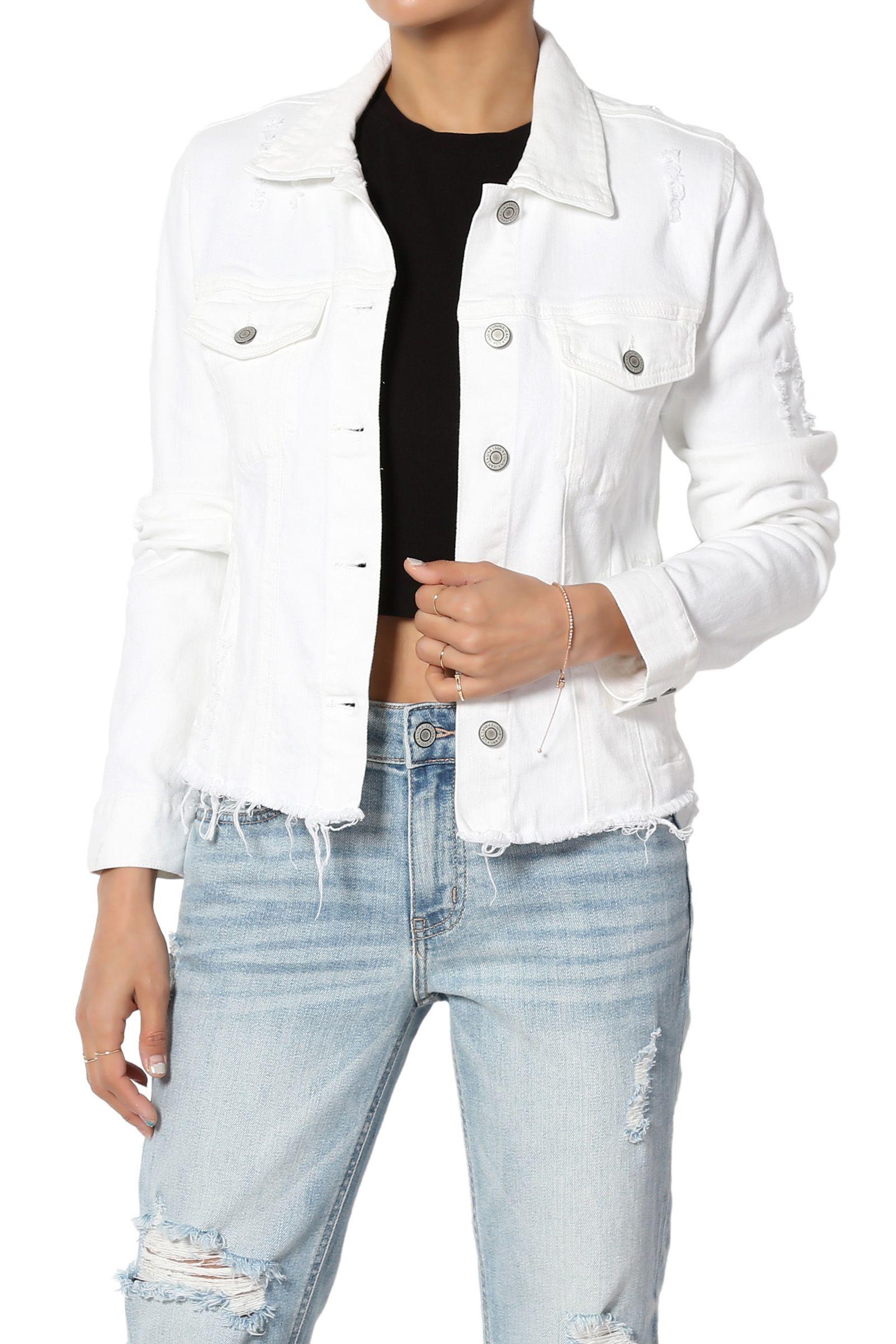 Themogan Themogan Women S Distressed Ripped Vintage White Wash Raw Hem Stretch Denim Jacket Walmart Com Denim Jacket White Denim Jacket Stretch Denim [ 2400 x 1600 Pixel ]